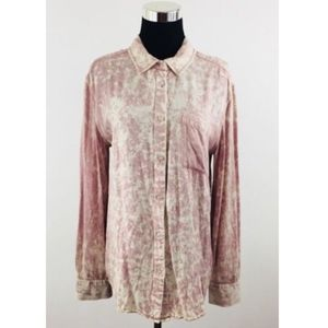 UO By Corpus Acid Washed Denim Button Down Shirt M